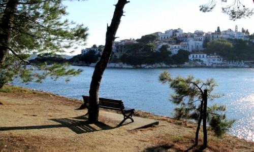 Zdjecie GRECJA / Skiathos / Skiathos Town / Z cyklu : ławeczka z widokiem