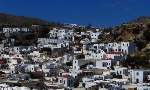 Zdjęcie GRECJA / Archipelag Dodekanez / Wyspa Rodos - Lindos / widok na miasteczko