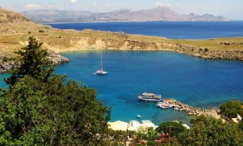 Zdjęcie GRECJA / Archipelag Dodekanez / Wyspa Rodos - Lindos / panorama portu w Lindos
