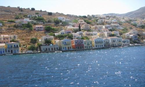 Zdjecie GRECJA / SIMI / SIMI / SIMI -pastelowa zabudowa miasteczka