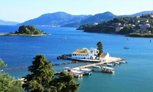 Zdjecie GRECJA /  Korfu / Zatoka Kanoni / Mysia wyspa i klasztor Vlacherna