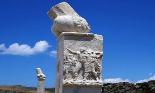 GRECJA / Cyklady / Wyspa Delos / Detal - strefa archeologiczna Delos