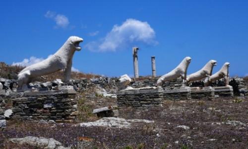 GRECJA / Cyklady / Wyspa Delos / Taras lwów