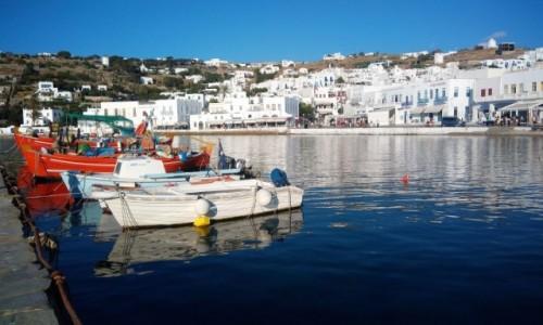 Zdjecie GRECJA / Cyklady / Chora, Wyspa Mykonos / Mały port w Mykonos