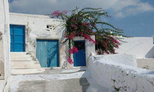 Zdjecie GRECJA / Cyklady / Santorini / kolorowe zaułki