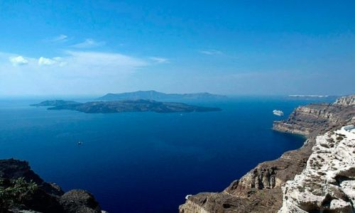 Zdjęcie GRECJA / Cyklady / Santorini / panorama wyspa-krater