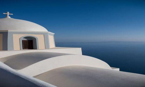Zdjecie GRECJA / Santorini / Fira / błękit i biel ......