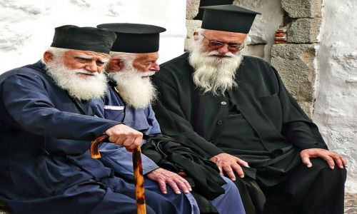 Zdjecie GRECJA / Santorini / Oia / duchowni ....