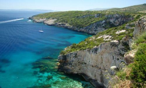 Zdjecie GRECJA / Zakythos / północna część wyspy / Błękit Morza Jońskiego