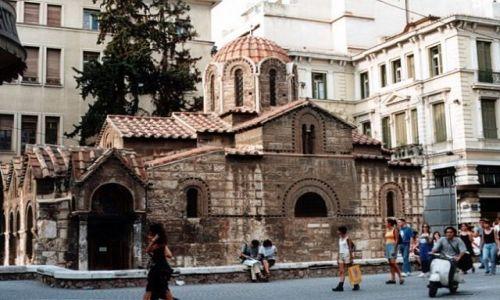 Zdjęcie GRECJA /  ATENY / róg Ermou i Kalamiotou. / Kaplikarea - bizantyjski kościół z XI w.
