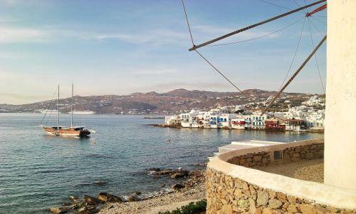 Zdjęcie GRECJA / Mikonos / Mikonos  / Widok na zatokę w miasteczku Mikonos