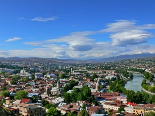 Zdjęcia: Tbilisi widziane z  twierdzy Narikala., Środkowa Gruzja, Panorama Tbilisi, GRUZJA