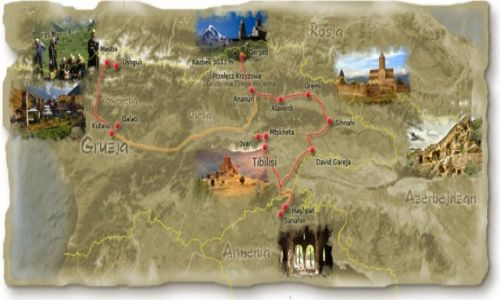 GRUZJA / Gruzja / Gruzja / Kaukaz 2015 - mapa trasy