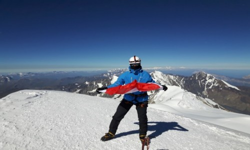 Zdjecie GRUZJA / Kaukaz / Kazbek  szczyt / Na szczycie Kazbek 5040 m npm