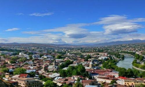 GRUZJA / Środkowa Gruzja / Tbilisi widziane z  twierdzy Narikala. / Panorama Tbilisi