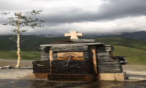Zdjecie GRUZJA / Wojenna Droga / Gergati / Kościół Gergati...czyli Cminda Sameba (ujęcie wody)