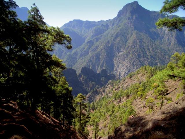 Zdjęcia: La Palma, Wyspy Kanaryjskie, Park Narodowy Caldera de Taburiente, widok na Pico Bejenado, HISZPANIA