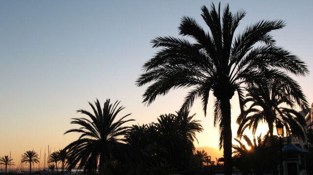 Zdjęcia: Marbella, Andaluzja, plaża w Marbelii o zachodzie słońca, HISZPANIA