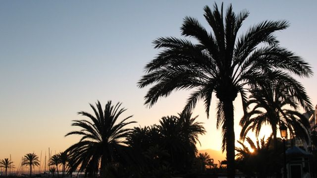 Zdj�cia: Marbella, Andaluzja, pla�a w Marbelii o zachodzie s�o�ca, HISZPANIA
