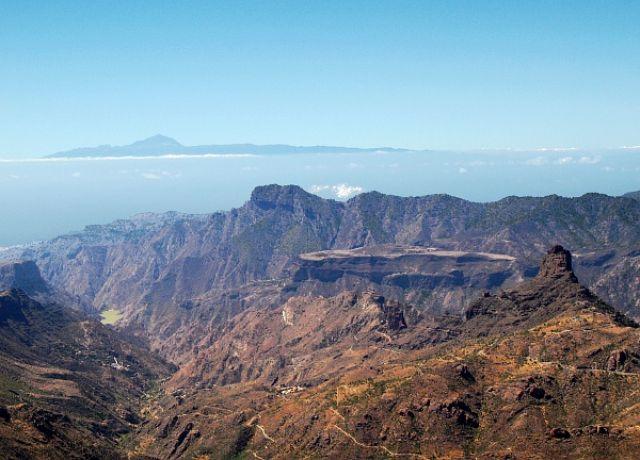 Zdjęcia: szczyt Nublo ok 1740 m n.p.m., środkowa Gran Canaria, widok na Teneryfę, HISZPANIA