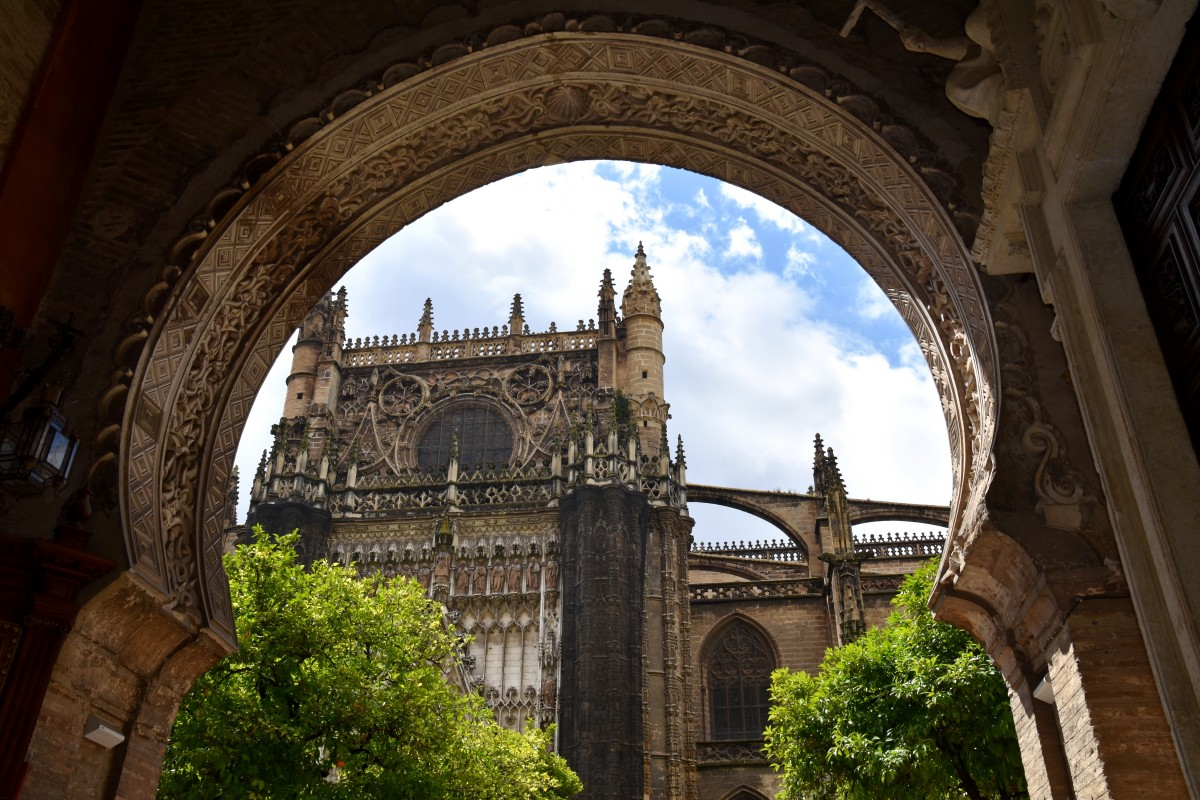 Zdjęcia: Sewilla, Andaluzja, Wejście na dziedziniec katedry w Sewilli, HISZPANIA
