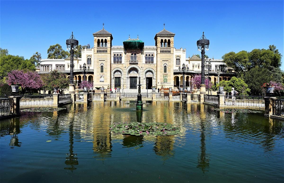 Zdjęcia: Sewilla, Parque de María Luisa, Andaluzja, Pałac Mudéjar, HISZPANIA