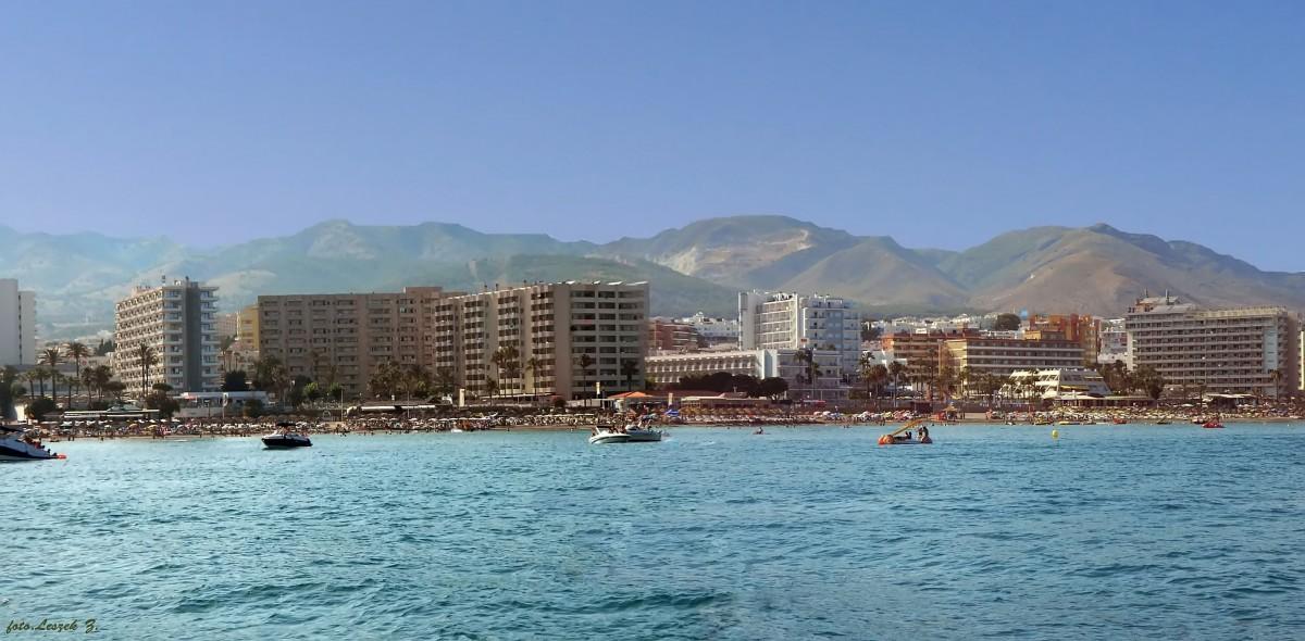 Zdjęcia: Benalmadena., Costa del Sol., Plaże Benalmadeny z rejsu statkiem., HISZPANIA