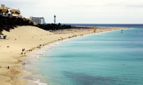 HISZPANIA / Fuerteventura/Wyspy Kanaryjskie / Półwysep Jandia / Plaża w Moro Jable