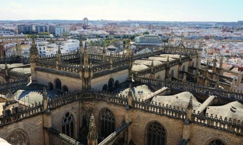 HISZPANIA / Andaluzja / Sevilla, z wieży katedry / Dach katedry