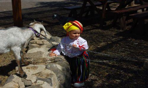 Zdjęcie HISZPANIA / Wyspy Kanaryjskie, Teneryfa / Farma koło miejscowości Arona / Dziewczynka z kozą