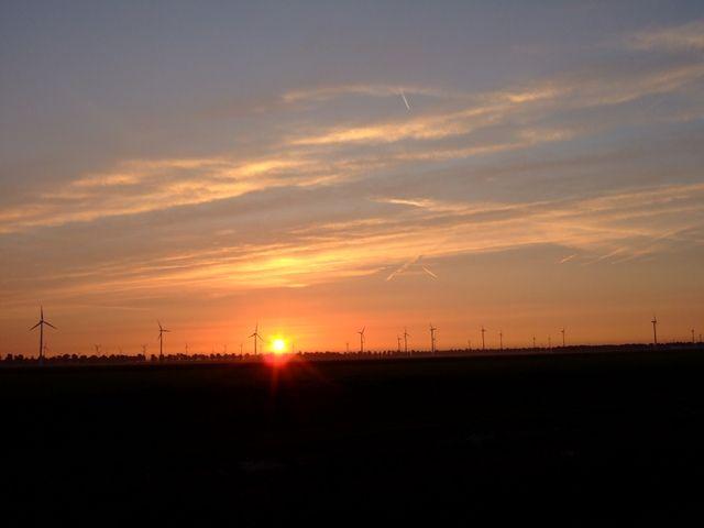 Zdjęcia: Zeewolde, Flevoland, wiatraki na tle zachodzącego słońca, HOLANDIA