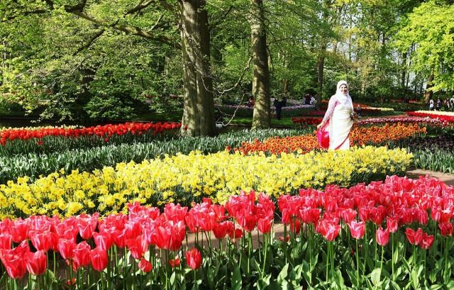 Zdjęcia: Ogrody Keukenhof, Amsterdam, Pani w kwiatach, HOLANDIA
