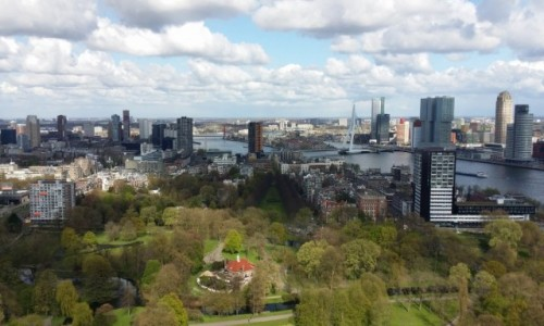 HOLANDIA / Rotterdam / Euromast / Panorama Rotterdamu z Euromastu