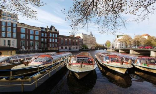 HOLANDIA / Amsterdam / Amstel / Statki spacerowe
