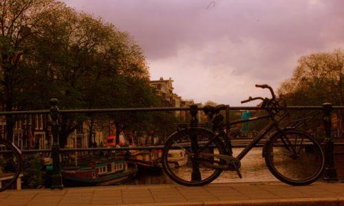 Zdjecie HOLANDIA / pln-wsch / Amsterdam / Rower o zachodzie
