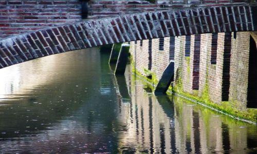 Zdjęcie HOLANDIA / Utrecht / Utrecht / Mury przy starym kanale