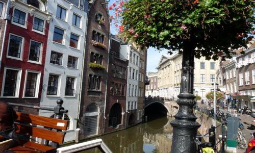 Zdjęcie HOLANDIA / Utrecht / Utrecht / Kanał, zapadnięte domy, ławeczka