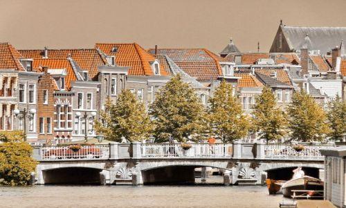 Zdjęcie HOLANDIA / Zuid Holland / Leiden / Nad kanałem