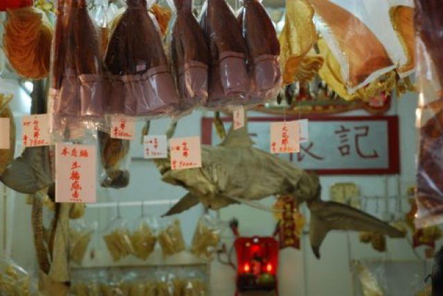 Zdjęcia: Tai O, Hong Kong, Suszony rekin na targowisku w Tai O, HONG KONG