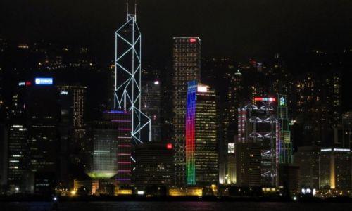 Zdjęcie HONG KONG / Hong Kong / Widok na HK z Kowloon / HK nocą