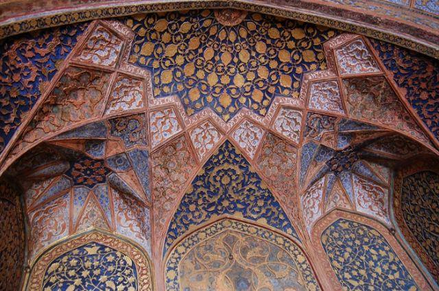 Zdjęcia: Agra, Uttar Pradesh, Sklepienie w Mauzoleum Akbara, INDIE