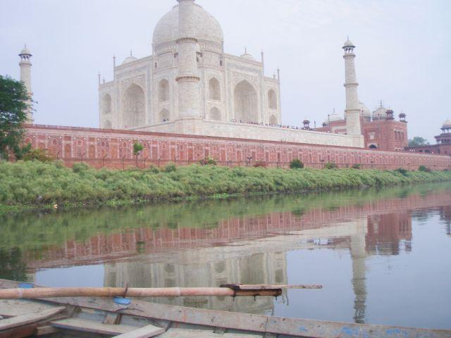 Zdjęcia: Agra rzeka Ałuna, Radżastan, Taj Mahal od strony rzeki, INDIE