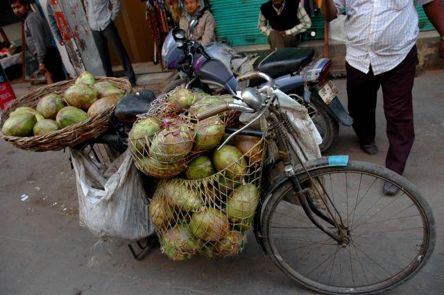 Zdjęcia: ulice, Delhi, sklep z kokosami, INDIE