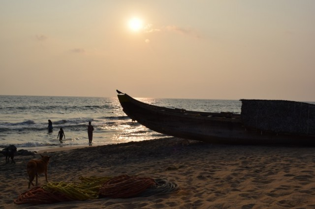 Zdjęcia: Varkala, Kerala, Zachód słońca nad plazą, INDIE