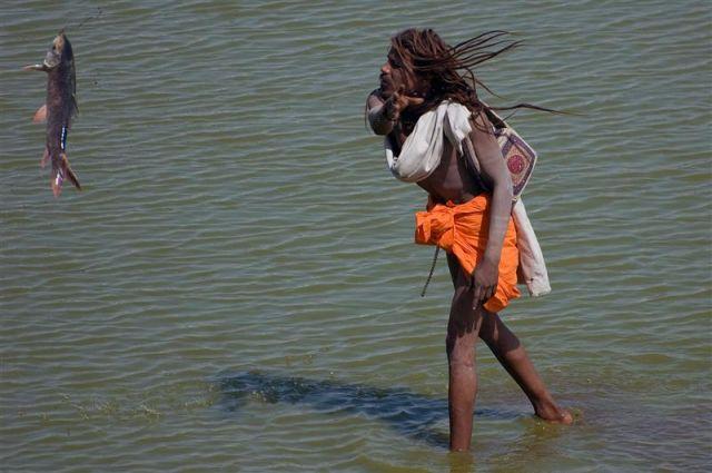 Zdjęcia: Pushkar, Radżastan, Pushkar - mężczyzna oczyszcza święte jezioro, INDIE