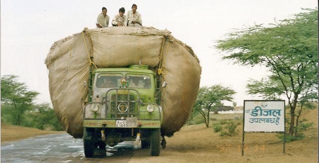 Zdjęcia: pustynia Thar, Rajastan, transport bawełny, INDIE