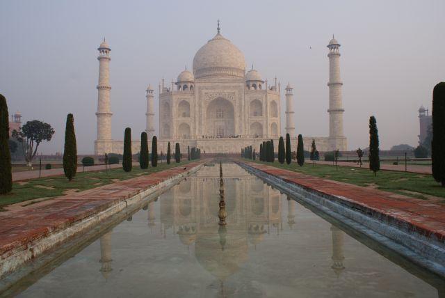 Zdjęcia: Agra, Uttar Pradesh, Tadż Mahal o wschodzie słońca, INDIE