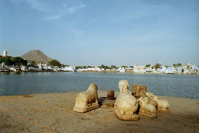 Zdj�cia: Pushkar, Rajasthan, Widok na jezioro Pushkar, INDIE