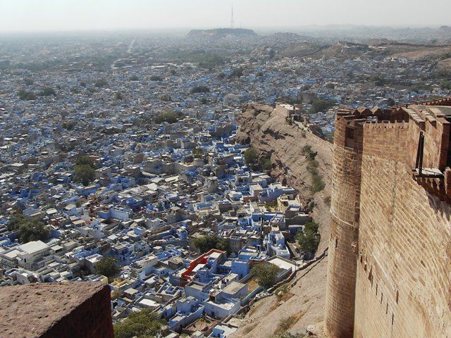 Zdj�cia: Jodhpur, Rajasthan, fort w b��kicie Jodhpuru, INDIE
