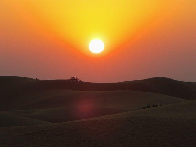 Zdj�cia: Jaisalmer - pustynia Thar, Rajasthan, zach�d s�o�ca, INDIE
